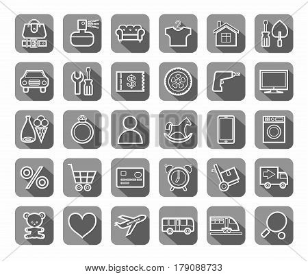 Purchase via the Internet, product category, icons, linear, vector. The white contour drawings on gray background with shadow. Vector clip art.