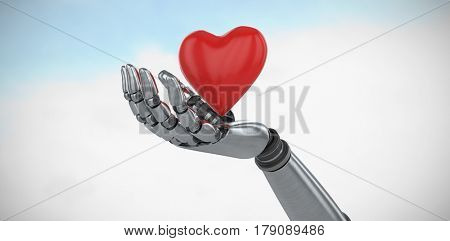 Three dimensional image of robot showing red heard shape decoration against blue sky with clouds 3d