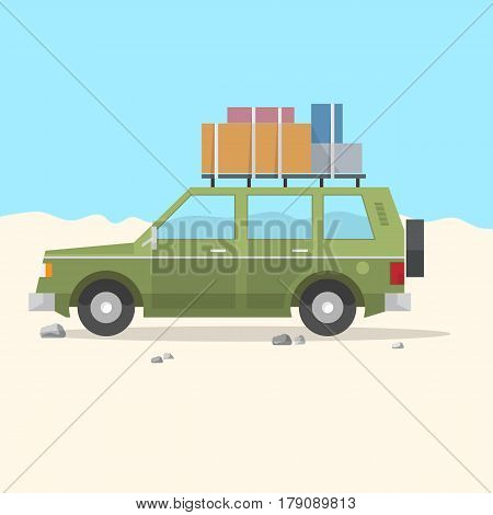 Travel Car SUV - road trip. Car summer trip background. Vector illustration