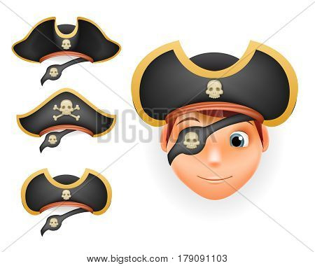 Pirate hats set realistic head template isolated mockup vector illustration