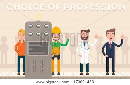 Conveyor the profession. People find themselves in the profession. Vector illustration in a flat style.