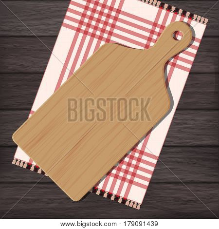 Cutting board with gingham cloth on wooden background. Vector color illustration clipart
