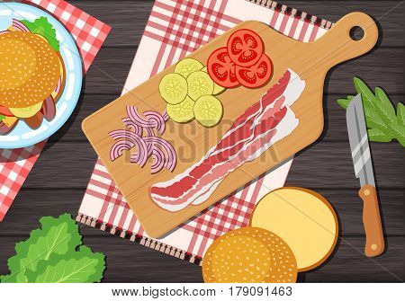 Cutting Board With Gingham Cloth On Wooden Background With Sandwich Ingredients