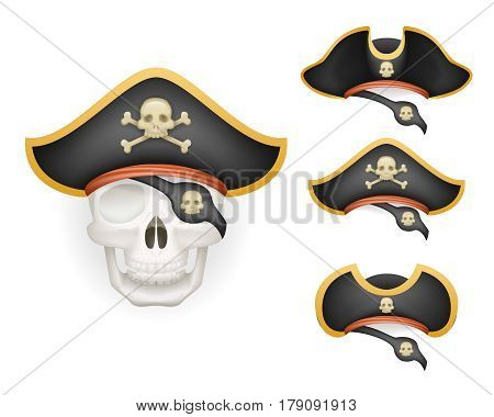 Skull pirate hats set realistic head isolated template mockup vector illustration