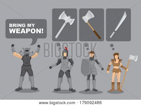 Cartoon medical warrior shouting Bring My Weapon and others unsure what he is asking. Vector illustration for ambiguous instructions.