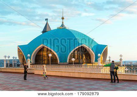 Kazan, Russia - March 26.2017. Service pavilion on territory Kazan Kremlin.Tatarstan
