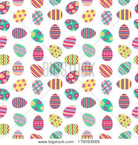 Easter seamless pattern with painted eggs. Perfect for wallpaper gift paper pattern fills web page background spring and Easter greeting cards.