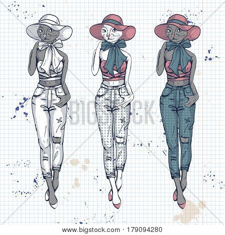 Vector set, color sketch of female model with cats head wearing ripped moms jeans, top, hat, bow and ballet flats on a notebook page.