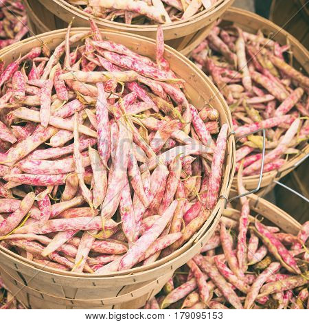 Cranberry Beans At The Market With Vintage Effect