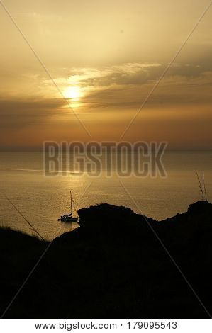 Golden sunset on the coast of Menorca in the