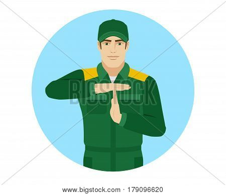 Worker showing time-out sign with hands. Body language. Portrait of Delivery man or Worker in a flat style. Vector illustration.