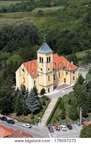 KRAVARSKO, CROATIA - JULY 10: Parish Church of Holy Cross in Kravarsko, Croatia on July 10, 2007.