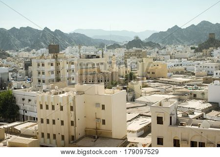Panoramic view from above of Muscat's old town Muttrah Oman