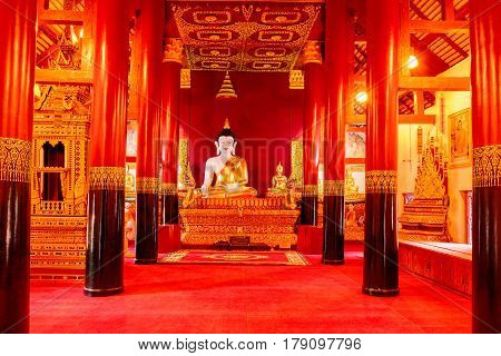 Golden Buddha Statue At Temple Nan, Thailand