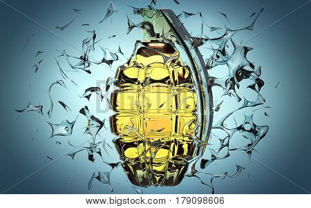 Hand grenade on blue background. Exploding glass pieces are flying around.