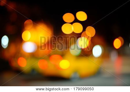 Blurred Defocused city Lights of Heavy Traffic at night. Blurred background with lights of the city at night. Bokeh basic background for design