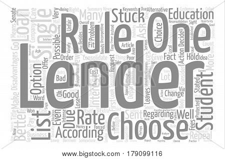 The problem of the single lender rule text background word cloud concept