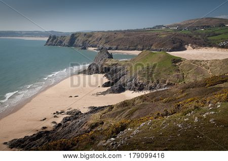 Pobbles Bay, Three Cliffs Bay, The Great Tor and Oxwich bay on the Gower peninsula, Swansea.