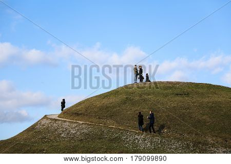 Tourists On The Top Of Krakus Mound