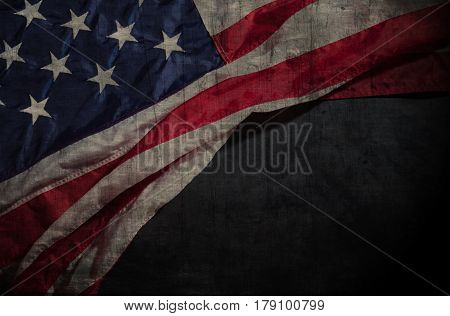 Vintage American flag on a chalkboard with space for text