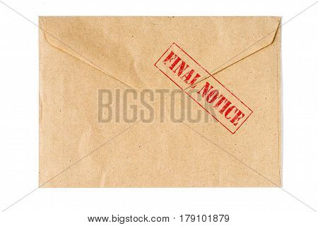 Final Notice old Envelope high quality and high resolution studio shoot