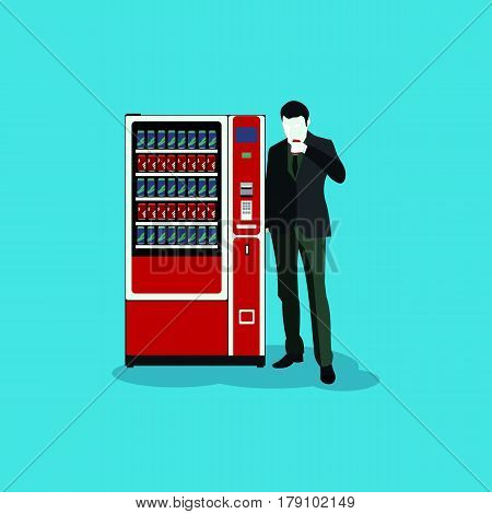 man and the vending machine in vector format