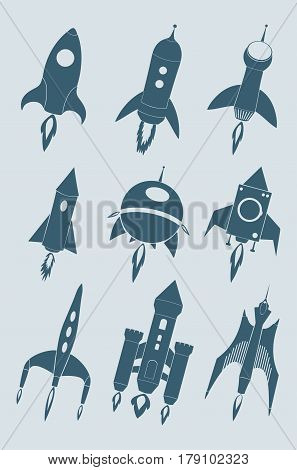 Rocket icon set. Cartoon rockets silhouette collection. Isolated vector illustration