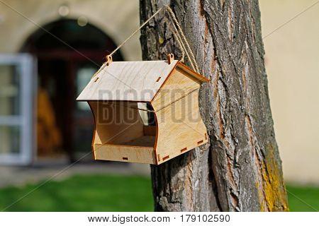 Empty wooden bird feeder hanging on a tree