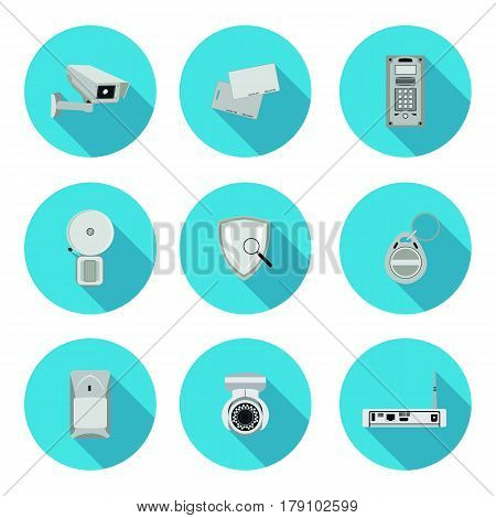 flat icons set security system in vector format