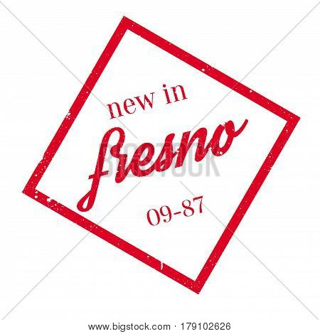 New In Fresno rubber stamp. Grunge design with dust scratches. Effects can be easily removed for a clean, crisp look. Color is easily changed.