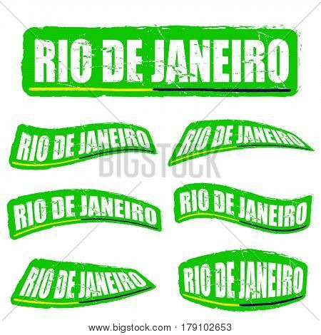 Rio De Janeiro Letter In Green Color Set Illustration