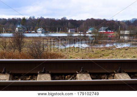 railway railroad transportation station track mound ground
