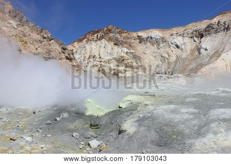 White Fumaroles Of The Volcano Mutnovsky Kamchatka