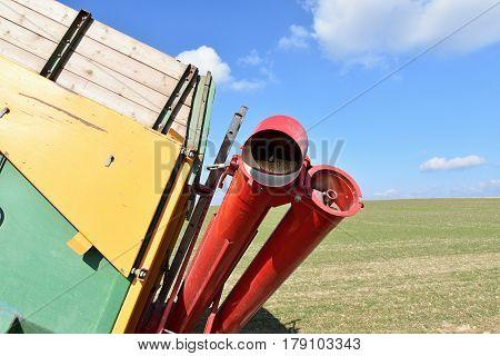 Screw conveyor in agriculture. Farm. Grain conveyor.