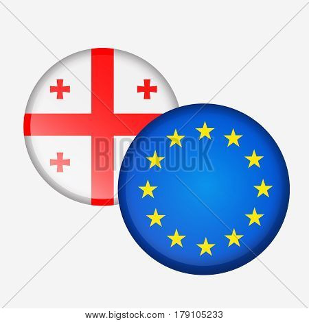 Stickers round flag of Georgia and the European Union. Messedge cooperation, friendship, union, visa-free regime. Vector illustration isolated from background