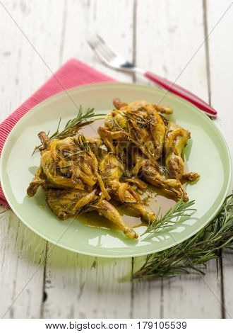 quail with curry and onions,selective focus