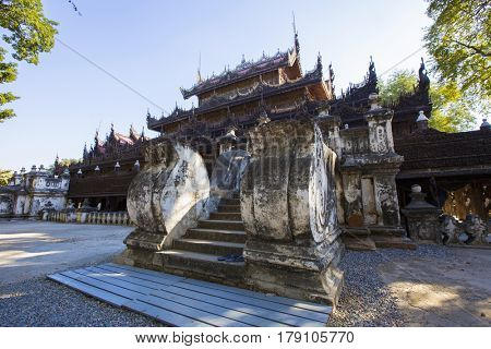 Golden Palace Monastery (Shwenandaw Kyaung) , mandalay in myanmar (Burma)