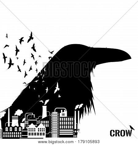 Isolated raven head silhouettes with double exposure effect. Factory industry as background.