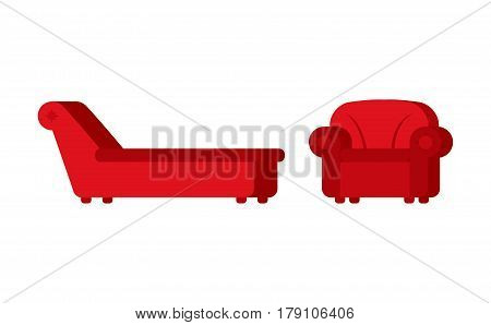 Couch and chair of psychologist. Psychotherapist furniture for patients