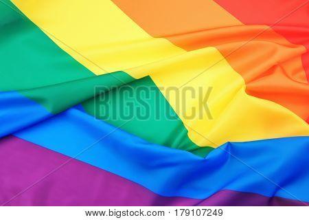 Fabric texture of gay rainbow flag background