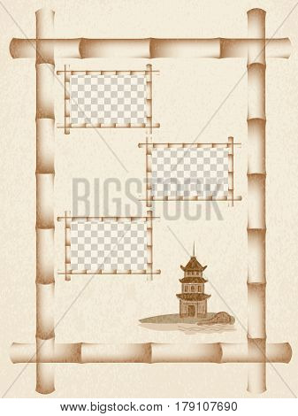 Pagoda over the river. Grunge background. Bamboo frame. vector illustration. mock up
