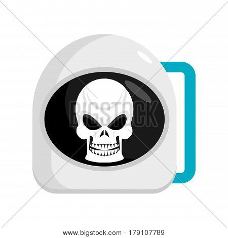 Skull In Helmet Astronaut . Cosmonaut Cap And Head Skeleton. Dead Space