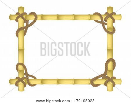 vector bamboo frame. bound by a rope. beveled corners. design mockup . isolated on white background.