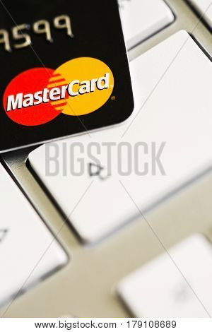 Benon, France - Feb 08, 2017: Mastercard Credit Card On Keyboard, Close Up Photo