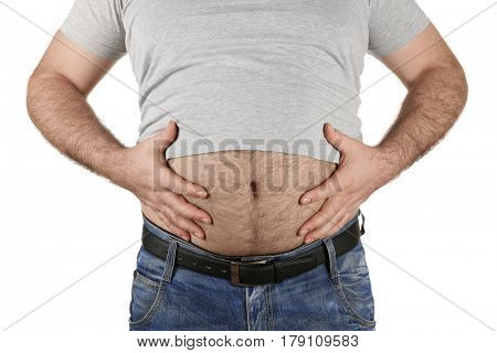Man with big beer belly on white background