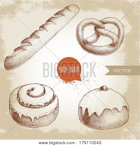 Hand drawn sketch style bakery goods illustrations set. Fresh salted pretzel french baguette iced cinnamon bun and iced bun with cherry. Daily product. Fresh-baked bread.