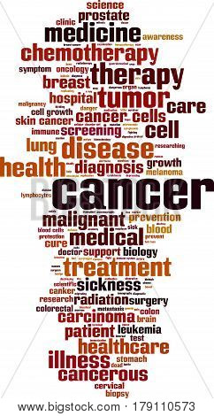 Cancer word cloud concept. Vector illustration on white