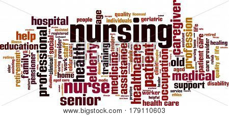 Nursing word cloud concept. Vector illustration on white