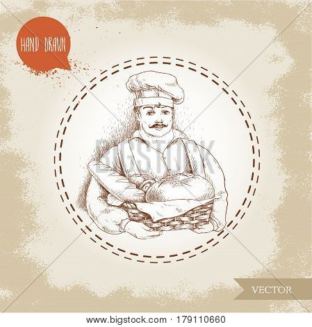 Hand drawn illustration of baker with baker basket of fresh bread. Sketch style vector vintage illustration. Man in uniform and daily bread goods.