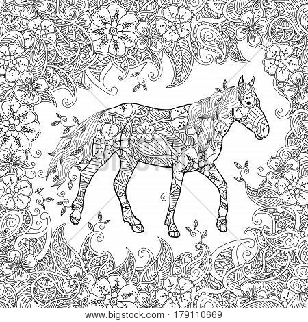 Coloring page in zentangle inspired style. Running horse on flowering meadow. Square composition. Coloring book for adult and older children. Editable vector illustration.